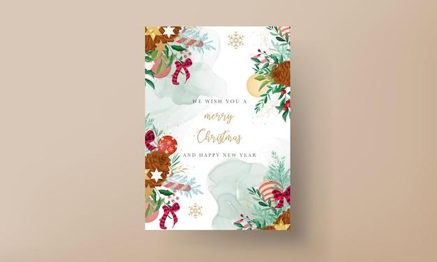 Joyeux noël carte avec belle décoration de noël