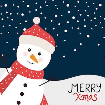 Joyeux noël carte avec bonhomme de neige en paysage d'hiver