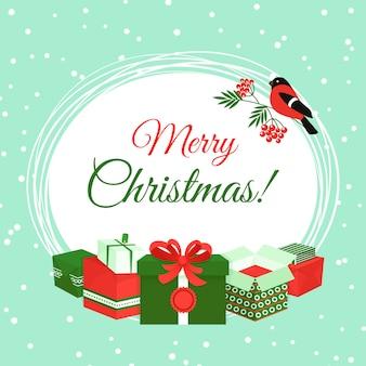 Joyeux noël carte avec des coffrets cadeaux