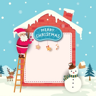 Joyeux noël carte avec le père noël décoré maison sur la neige.