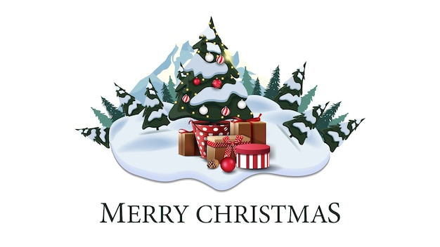 Joyeux noël, carte postale moderne avec pins, dérives, montagne et arbre de noël dans un pot avec des cadeaux