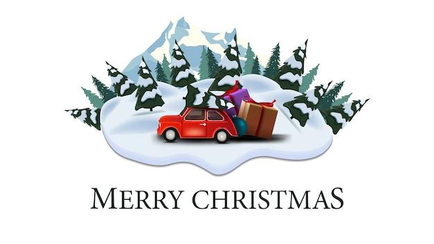 Joyeux noël, carte postale moderne avec pins, dérives, montagne et voiture vintage rouge transportant l'arbre de noël