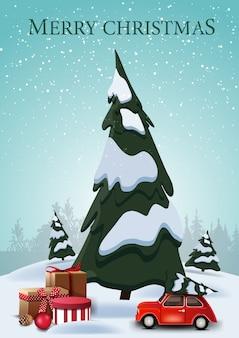 Joyeux noël, carte postale verticale avec des sapins de dessin animé