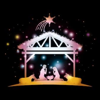 Joyeux noël carte avec sainte famille en écurie