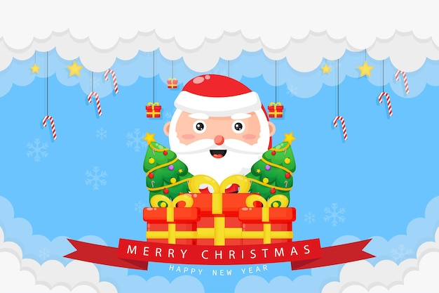 Joyeux noël carte avec santa et coffret cadeau