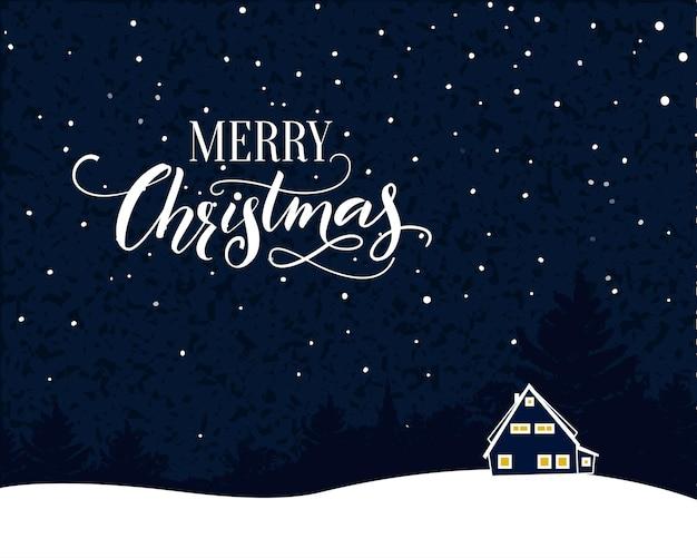 Joyeux noël carte vintage avec texte de calligraphie. scène de nuit avec chute de neige et petite maison.