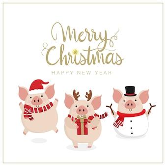 Joyeux noël carte de voeux avec cochon mignon