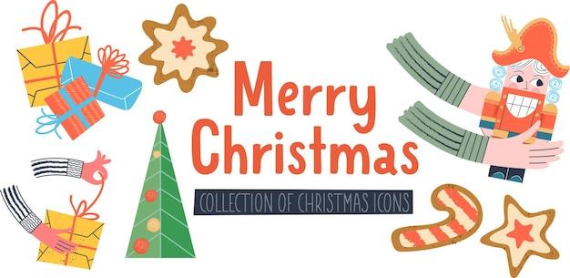 Joyeux noël carte de voeux d'illustration vectorielle un ensemble d'éléments de décoration de vacances