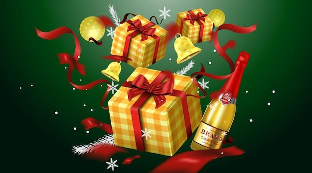 Joyeux noël carte de voeux et invitations de fête fond de luxe