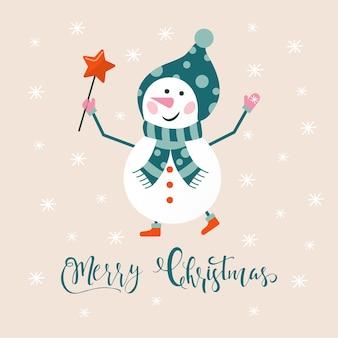 Joyeux noël carte de voeux mignonne avec bonhomme de neige et flocons de neige pour des cadeaux de bonne année. affiches de style scandinave pour invitation, chambre d'enfant, décoration de chambre d'enfant, décorations d'intérieur