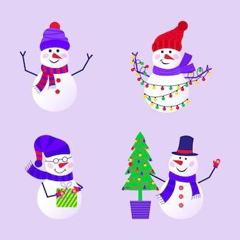 Joyeux noël carte de voeux mignonne avec bonhomme de neige et flocons de neige pour des cadeaux de bonne année. ensemble de style scandinave pour invitation, chambre d'enfants, décor de crèche, design d'intérieur, autocollants