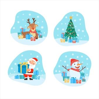 Joyeux noël avec carte de voeux de modèle de cadeaux de père noël, boules de noël