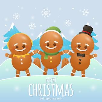 Joyeux noël carte de voeux avec trois biscuits