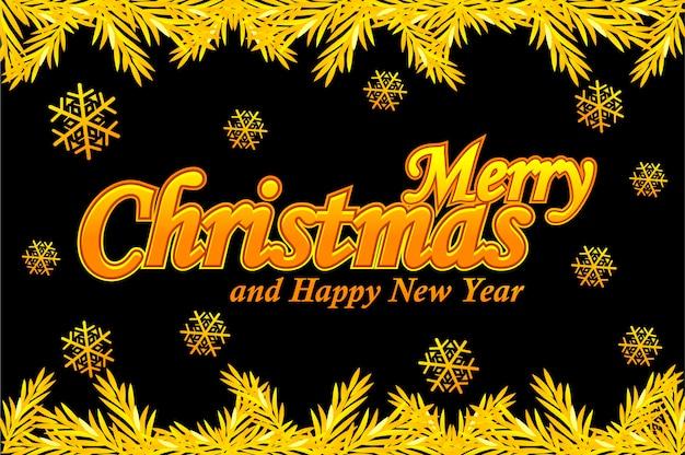Joyeux noël, carte de voeux. vector logo doré, neige et arbre de noël sur fond noir.