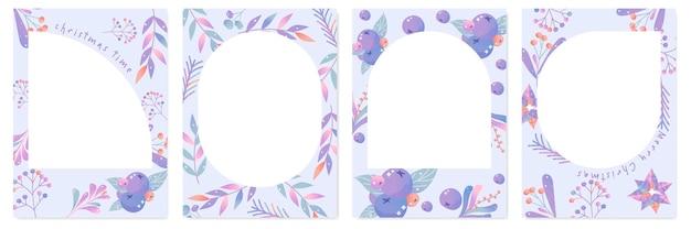 Joyeux noël cartes de vacances et invitations. conception de cadres et d'arrière-plans floraux.