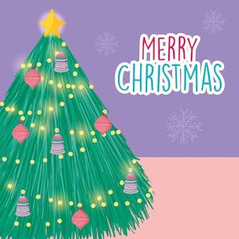 Joyeux noël célébration arbre lumineux lumières boules décoration