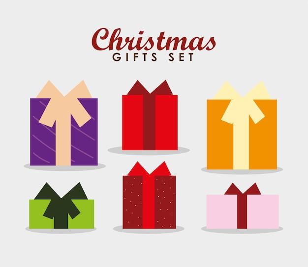 Joyeux noël célébration décoration cadeaux boîte icônes illustration