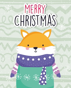 Joyeux noël célébration renard mignon portant écharpe et pull
