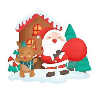 Joyeux noël avec la clause du père noël tenant un sac et des rennes.
