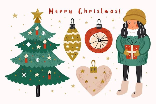Joyeux noël clip art ensemble d'éléments. fille, cadeaux, arbre de noël, décoration.