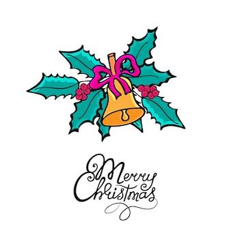 Joyeux noël. cloche avec un arc dans le style doodle. carte de voeux de gui pour les vacances du nouvel an dessinées à la main.