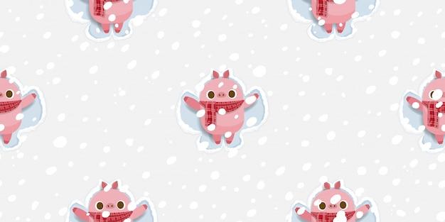 Joyeux noël, cochon mignon faisant modèle sans couture de neige ange.