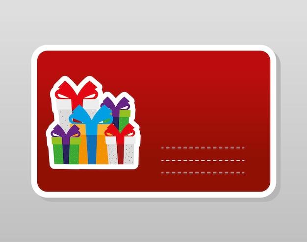 Joyeux noël coffrets cadeaux célébration décoration autocollant illustration