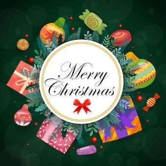 Joyeux noël avec des coffrets cadeaux colorés décorés en cercles
