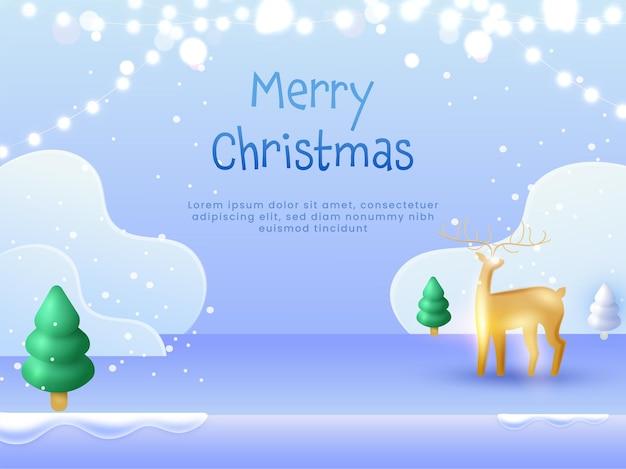 Joyeux noël concept avec renne d'or 3d, arbre de noël et guirlande d'éclairage sur fond bleu de neige.