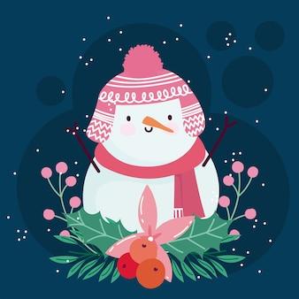Joyeux noël décoration de banches de fleurs de bonhomme de neige mignon