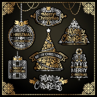 Joyeux noël design labels golden set
