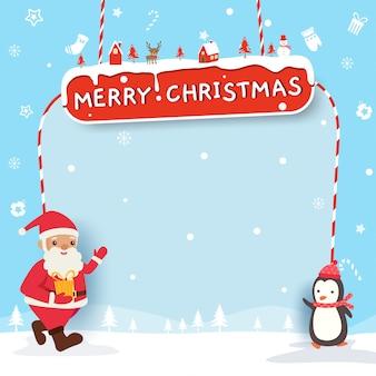 Joyeux noël design avec père noël et pingouin sur fond neigeux et cadre