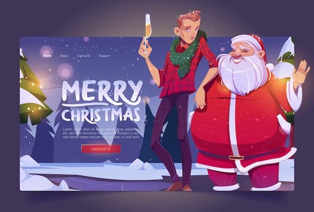 Joyeux noël dessin animé page de destination père noël et homme avec verre de champagne