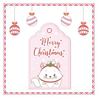 Joyeux noël dessin de chat mignon avec étiquette de carte de baies rouges pour la saison d'hiver avec des ornements à colorier
