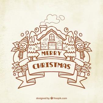 Joyeux noël dessiné avec la maison et le bonhomme de neige