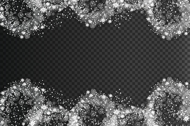 Joyeux noël effet de neige tourbillonnante avec des flocons de neige blancs brillants réalistes