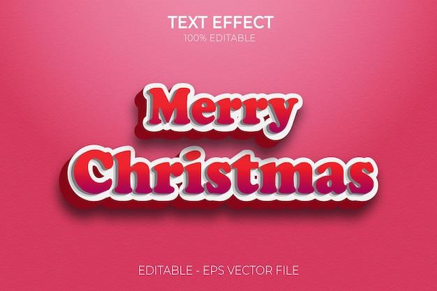 Joyeux noël effet de texte 3d créatif vecteur premium de style de texte gras modifiable