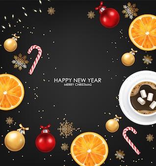 Joyeux noël, éléments de design décoratif, hiver, fond de célébration, lumières réalistes, café et guimauve, bonbons de noël, boule rouge et orange