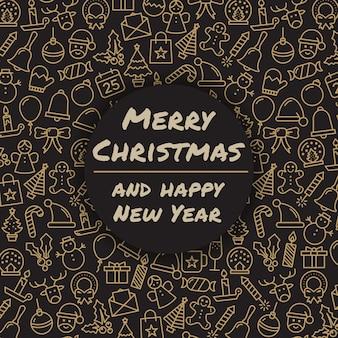 Joyeux Noel et bonne année. Carte de voeux de vacances d'hiver. Typographie de joyeux Noël et calligraphie. Icônes de Noël.