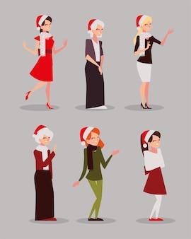 Joyeux noël femmes avec chapeau caractère saison célébration icônes illustration