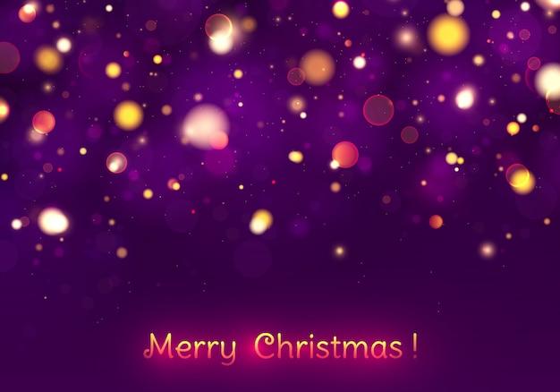 Joyeux noël festif bokeh de lumières pourpres et dorées.