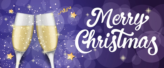Joyeux noël avec des flûtes à champagne
