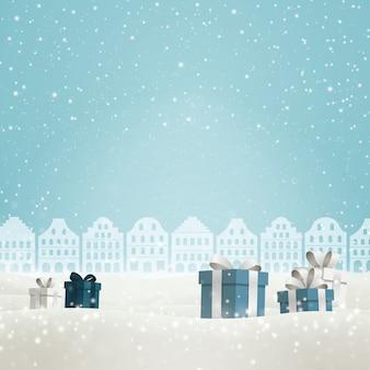 Joyeux noël fond avec des coffrets cadeaux.