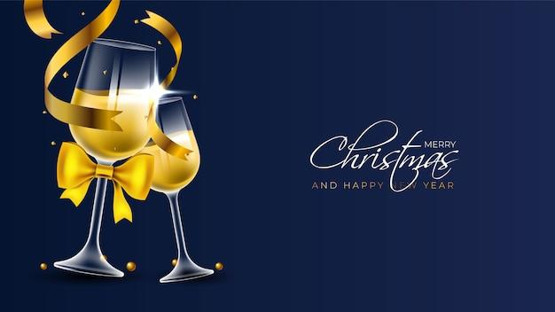 Joyeux noël fond avec deux flûtes à champagne