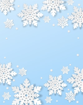 Joyeux noël, fond d'hiver. concevoir avec des flocons de neige de style art papier sur fond bleu.