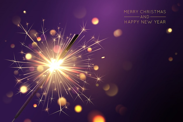 Joyeux noël fond avec sparkler et effets de lumière