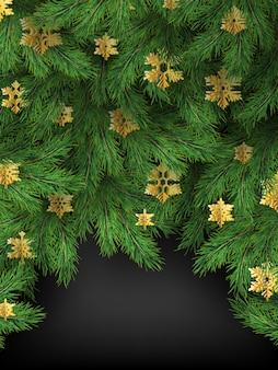 Joyeux noël fond de vacances d'hiver, branches de sapin et flocons de neige dorés.