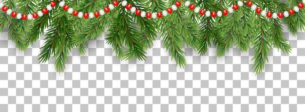 Joyeux noël frontière de branches d'arbres et de perles de guirlande
