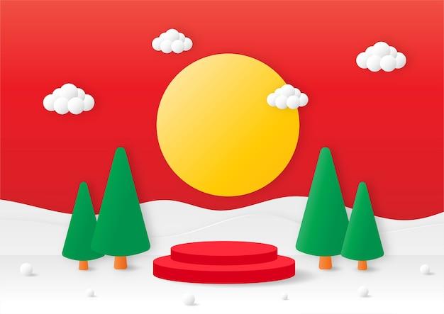 Joyeux noël géométrie forme podium avec arbre de noël papier découpé carte fond rouge produit stand présentation avec un style minimal