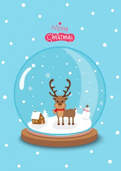 Joyeux noël avec globe globe décoré de renne et de neige sur bleu